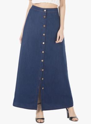 FabAlley Solid Women A-line Blue Skirt