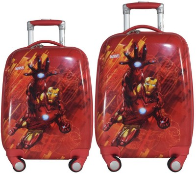 Texas USA set of 2 bags 18 inches and 22 inches IRONMAN Printed Polycarbonate 4 wheel Kids Trolley Bag Expandable  Cabin Luggage - 22 inch