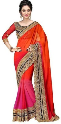 Online Bazaar Embroidered Fashion Poly Georgette Saree