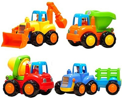 Zest 4 Toyz Unbreakable Automobile Push And Go Friction Powered Car Toys Set for Children Boys Girls Kids Gift- Tractor, Bulldozer, Mixer Truck And Dumper(Set of 4)