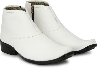 Shoe Island ® POPULAR Chelsea-X ™ White Leatherette Zipper High Ankle Length Casual Chelsea Boots Boots For Men