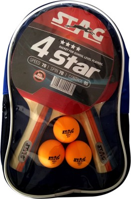 Stag 4 STAR PLAYSET WITH 2 BAT ,3 BALLS Table Tennis Kit