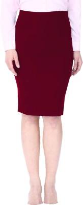 Franclo Solid Women's Pencil Maroon Skirt