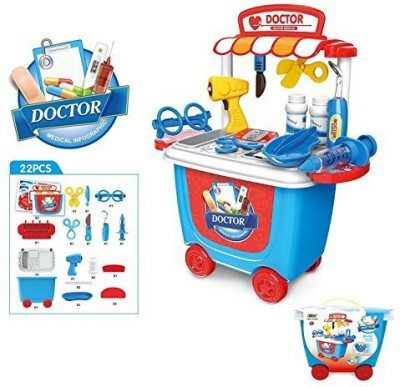 OWIKAR Medical Toys Doctor Kit Pretend Play Toy Sets Simulation Medicine Box Baby Kids Funny Toys With Carry Case