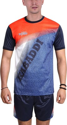 excido Men Round Neck Half Sleeve Sport Jersey, Kabaddi Jersey - Navy Blue, Size36 Printed Men Track Suit