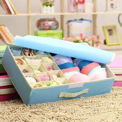 House of Quirk 15+1 Compartment Cell Foldable Storage Box Non-Smell Drawer Organizer 15 grids + 1 for underwear Closet Storage for Socks Bra Tie Scarfs