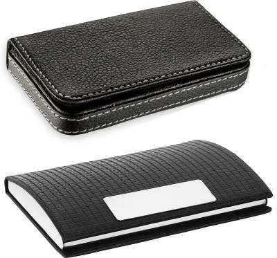 Flipkart SmartBuy High Quality | Pack of 2 | Stylish Full Black Leatherite and Black Leatherite piece Silver Metal Business 1101 Credit/debit/ATM/ID/Visiting SUPER SLEEK, STURDY 10 Card Holder