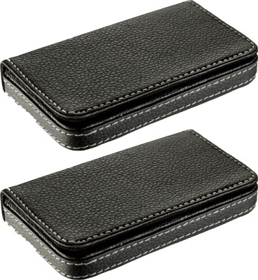 Flipkart SmartBuy High Quality | Pack of 2 | Stylish Black Soft leatherite Credit/debit/ATM/ID/Visiting SUPER SLEEK, STURDY 10 Card Holder