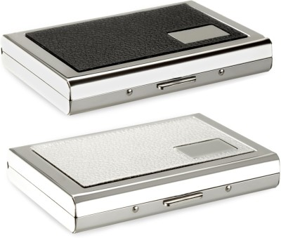 Flipkart SmartBuy High Quality | Pack of 2 | Stylish Black Leather piece Silver Metal and White Leather piece Silver Metal Business 9033 Credit/debit/ATM/ID/Visiting SUPER SLEEK, STURDY 6 Card Holder