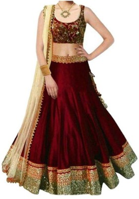 Mohnish Fashion Embroidered Semi Stitched Lehenga, Choli and Dupatta Set