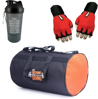 Vellora Gym Bag, Protein Shaker And Gym Glove With Wrist Support Combo Gym & Fitness Kit