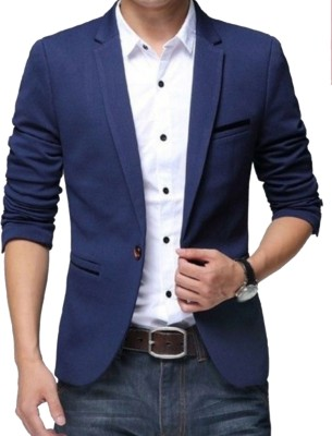 One Click Solid Single Breasted Party, Casual Men's Blazer
