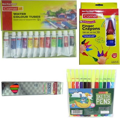 Camlin WATER COLOUR TUBES (12 SHADES)+FINGER CRAYONS (10 SHADES)+NOVA GLOWING TRIANGULAR PENCILS WITH SCALE 15 CM+ SKETCH PEN (12 SHADES)