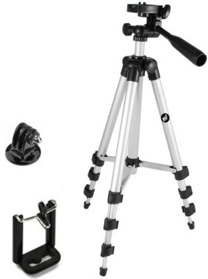 JMO27Deals Portable & Foldable Camera - Mobile Tripod With Mobile Clip Holder Bracket , Fully Flexible Mount Cum Tripod , Standwith Three-dimensional Head & Quick Release Plate Only 150 gm (Black) Tripod