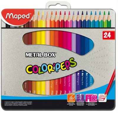 Maped Color'Peps 24 Shades Color Pencils Metal Box Triangular Shaped Color Pencils