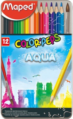Maped Color'Peps Aqua - Water Color Pencils Metal Box 12 Colors Triangular Shaped Color Pencils
