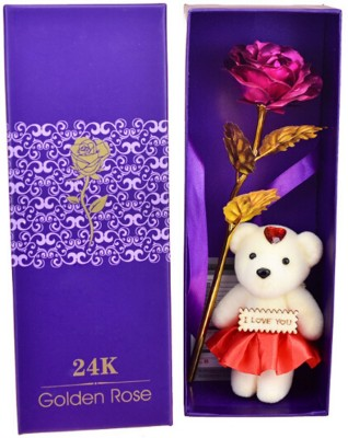 Skylofts 24k Gold Red Rose with I Love You Teddy Bear Doll, Gift Box and Carry Bag - Best Valentine's Day Gift, Birthday Gifts Gold Dipped Rose Artificial Flower, Showpiece, Soft Toy Gift Set