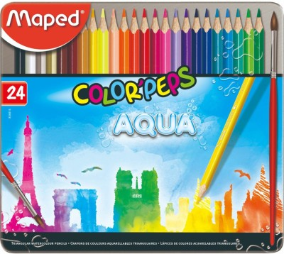 Maped Aqua - Water Color Pencils Metal Box 24 Colors Triangular Shaped Color Pencils