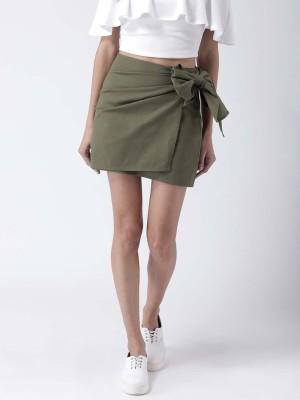 Street 9 Solid Women Wrap Around Green Skirt