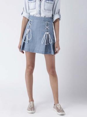 Street 9 Solid Women A-line Blue Skirt