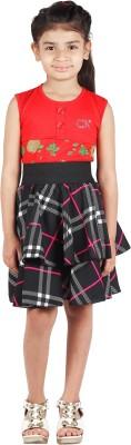 FabnFab Checkered Girls Layered Black Skirt