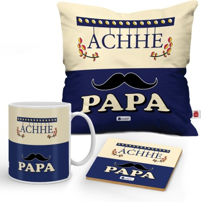 Indigifts Fathers Day Gifts, Fathers Birthday Gift, Anniversary Gifts for Mom Dad, Gift for Papa, Cushion, Mug & Coaster_DAD18095 Cushion, Mug, Showpiece Gift Set