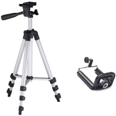 Piqancy 3110 Portable & Foldable Camera & Mobile Tripod with Mobile Clip Holder Bracket Fully Flexible Mount Cum Tripod Stand with Three-Dimensional Head & Quick Release Plate Tripod
