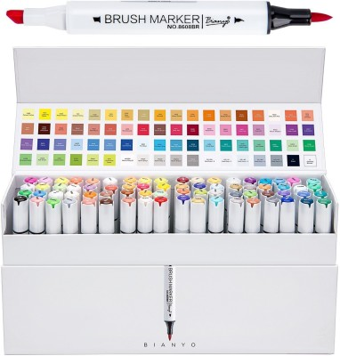 Bianyo Artist Dual Marker Pens- Soft Brush and Broad Tips, Art Permanent Sketch Markers for Designing, Drawing, Coloring Skin, 72 Colors