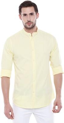 Dennis Lingo Men Solid Casual Yellow Shirt