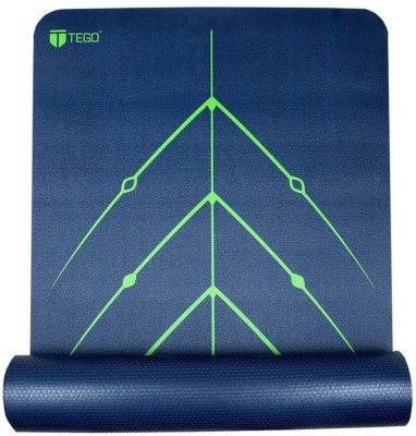 Tego Stance Truly Reversible Mat Black with Green GuideAlign Blue 5 mm Yoga Mat