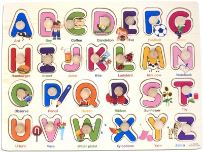 Parteet Wooden Colorful Learning Letters Alphabets Board for Kids with Knobs, Educational Learning Wooden Tray (Capital Letters)