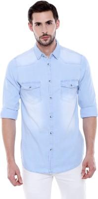 Dennis Lingo Men Solid Casual Light Blue Shirt