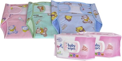 Kidoyzz New Born Washable & Reusable Diaper/Langot/ 3 Nappy Set And 2 Baby Wipes Combo Pack For Kids CB64