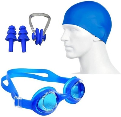 Vellora Swimming Kit (Silicon Cap, Silicon Ear Plug, Swimming Nose Clip, Swimming Goggles) Swimming Kit