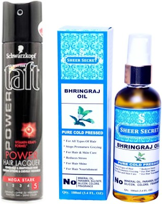 SCHWARZKOPF TAFT ALL WEATHER POWER HAIR LACQUER 250 ML with SHEER SECRET PURE COLD PRESSED BHRINGRAJ OIL 100 ML
