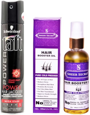 SCHWARZKOPF TAFT ALL WEATHER POWER HAIR LACQUER 250 ML with SHEER SECRET PURE COLD PRESSED HAIR BOOSTER OIL 100 ML