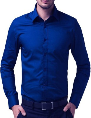 U TURN Men's Solid Casual Blue Shirt