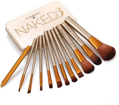 LE MAROCO Naked3 Makeup Brush Set (Pack of 12)