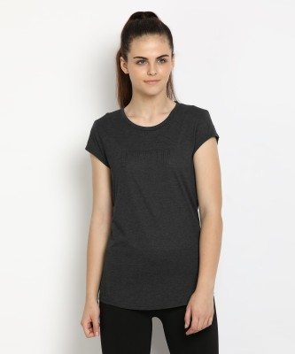 Puma Printed Women Round Neck Grey T-Shirt