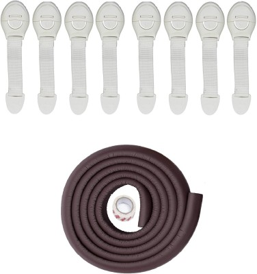 Royalkart Child Safety Strip Cushion & Corner Guards With Strong Fibreglass Tape For Baby Safety Child Proofing + 8 Pcs White Child Safety Locks (Brown)