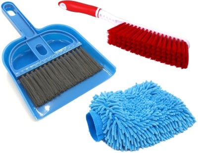 De-Ultimate Combo Of Mini Dustpan and Broom Set For Computer Laptop TV Shelves Cleaning Brush Kitchen Car Desk And Multi Purpose Microfiber Home Office Car Bike Vehicle Washing Cleaning Hand Glove With Carpet / Car Seat / Mats Hard & Long Bristles Plastic Brush Cleaning Brush