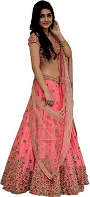 shiv fashion Embroidered, Embellished Semi Stitched Lehenga, Choli and Dupatta Set