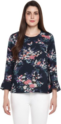 Annabelle by Pantaloons Casual 3/4th Sleeve Printed Women's Dark Blue Top