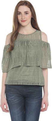 Honey By Pantaloons Casual Half Sleeve Solid Women's Dark Green Top
