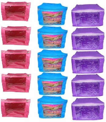 ABHINIDI High Quality Travelling Pouch Combo of 15 Pieces Multipurpose Ladies Large 10inch Non-Woven saree Cover 5pcs Pink, 5pcs Blue, 5 Purple Color Storage Organizer Bag vanity pouch Garments Cover Keeps Upto 10 - 15 Saree each