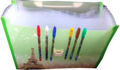 TECHNOCHITRA PLASTIC EIFFEL TOWER PRINTED HARMONIUM FILE FOLDER WITH SET OF 6 GLITTER PENS A PERFECT BIRTHDAY GIFT / RETURN GIFT FOR KIDS
