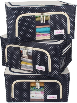 BlushBees Living Box - Storage Boxes for Clothes, Closet Organizer - 24 Litre, Pack of 3, Polka Dots Blue