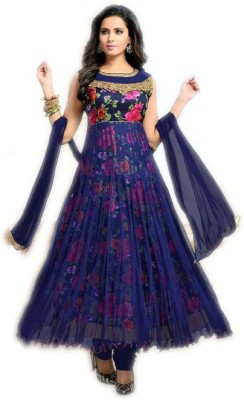 Aika Art Silk Floral Print Gown/Anarkali Kurta & Bottom Material