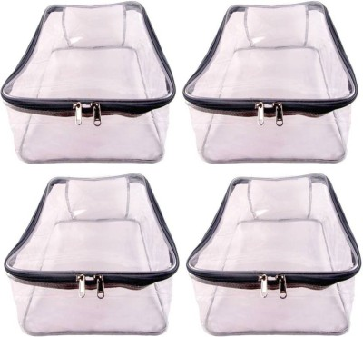 ABHINIDI High Quality Travelling Bag Pack of 4 Pieces Large Transparent Shirt Cover Saree Cover storage Bag Organizer Bag vanity travelling pouch Garments Cover Keeps Upto 12-15 Saree each