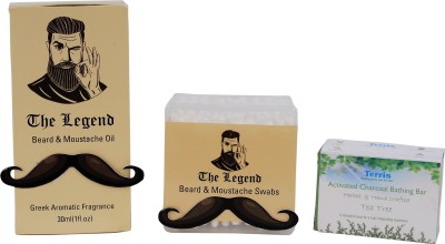 The Legend Grooming kit for Men- Beard oil, Beard swabs, Activated Charcoal Soap - TEA TREE